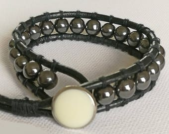 Hematite leather and bead wrap bracelet, Chan Luu style with optional personalised initial heart charm