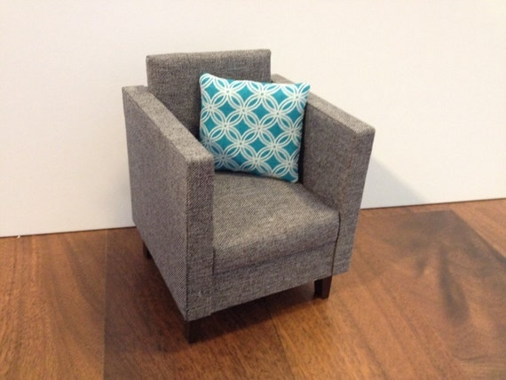 Ready To Ship Modern Grey Chair Dollhouse Furniture 1 6