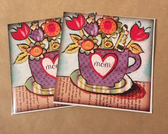 Tea Cup with Flowers Set of FOUR Blank Note Card with original art by Cortney Rector Designs