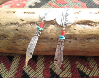 Native American Coral,Turquoise and Sterling Concho Post Earrings with Dangling Feather
