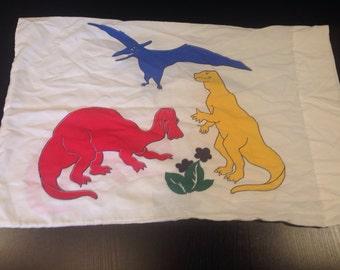 Vintage  Vibrant Colors Dinosaur Standard Pillowcase - T Rex