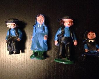 Vintage Amish Family Painted Metal Figurines - Quaker