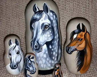 Arabian Horses on Five Russian Nesting Dolls.