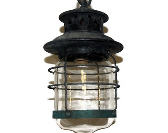 Antique Lantern Light Fixture Electrified Arts and Crafts Lantern