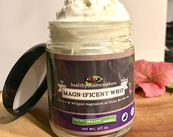 Magnesium Whipped Natural Body Butter - Organic Whipped Body Butter - Relaxation Body Lotion - Soothe Muscle & Joint Pain