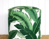 """ON SALE Square Fox Green Palm outdoor pouf ottoman floor seat 