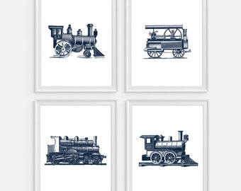 Train Art Print, Steam Train, Railroad Wall Art, Steam Locomotive Set of 4 Prints Train Wall Art, Nursery Decor, Steam Engine, Train Decor