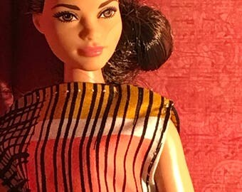 """HautePoppet """"shift this"""" style dress for curvy barbie/lammily size fashion dolls"""