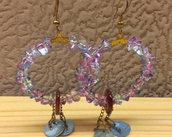 Vintage Women Hoop Earrings Rainbow Crystal Glass Stone Brass Golden Color Charming Design