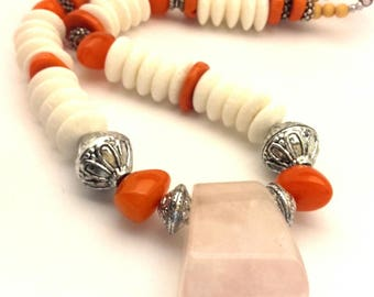 Necklace Vintage Rose Quartz Pendant Genuine Beads White Sponge Coral Orange Lucite Handmade