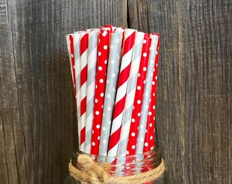100 Red and Silver Polka Dot/Stripe Paper Straws, Christmas Party Supply, Birthday Party Supplies, Paper Goods, Cake Pop Sticks