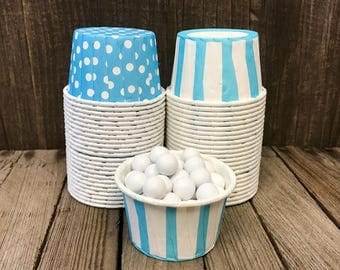 48 Blue Polka Dot and Stripe Candy Cups--Nut cups--Wedding--Shower--Birthday Party--Paper Party Goods--Portion Cups
