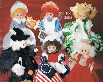 "Crochet Doll Pattern - Holiday Dolls - 13"" Tall Crochet Doll - Vintage Doll Crochet - Halloween Witch  - American School Of Needlework #1082"