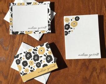 Black and Camel Artistic Floral Personalized Stationery Gift Set For Women, Stationery Set Personalized mothers days gifts ideas