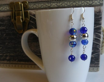 Blue and silver jewelry set, necklace with matching earrings, gift idea for her, handmade by Felicianation