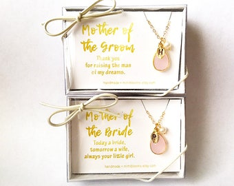 Mother of the Bride gift from daughter, Mother of the Groom gift from bride, jewelry, bridesmaid gift box, blush necklace