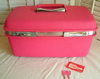 Vintage Retro Hot Pink Samsonite Vanity Case Overnight Suitcase Train Case Vanity Bag Make Up Case With Keys