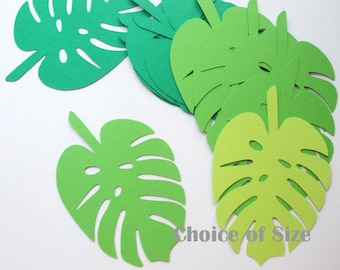 "Tropical Jungle Leaf Cutouts, Palm Leaf Luau Party Decoration, 30 CT. , 2.5"" to 5.5"", Jungle Theme, Dinosaur Theme"