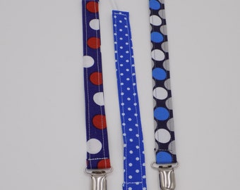 Boys Dots Pacifier Clips(Set of 3)