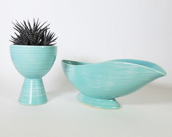 "Mccoy ""Harmony"" Planters Two Mid Century Modern Aqua Planter/Vase Pair"
