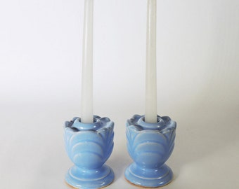 Shawnee Pottery Pair of Candleholders Flax Blue Vintage 1930's