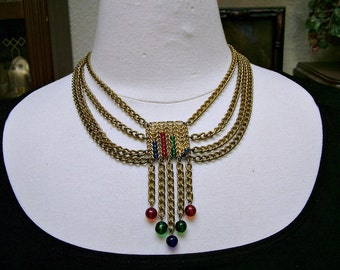 Vintage-Antique Austro Hungarian Victorian Czech Glass Festoon Necklace