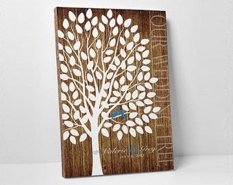 Wedding Guest Book Canvas - Custom Wedding Guest Book - Wedding Tree Guest Book Canvas - 55-300 Guest Sign In