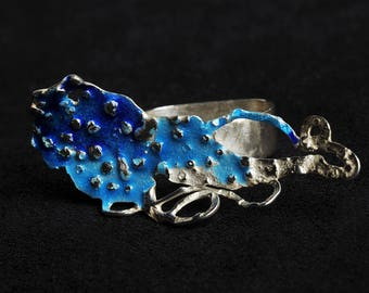 Ring from the Bottom of the Sea, sterling silver and enamel
