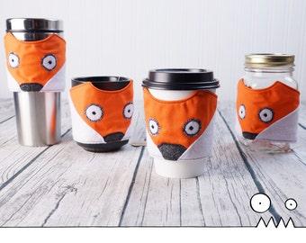 Fox cup sleeve, orange - - - mug cozy, cup sleeve, coffee lover, take out coffee, teacher gift, office gift, fox lover, Handmade by Funky