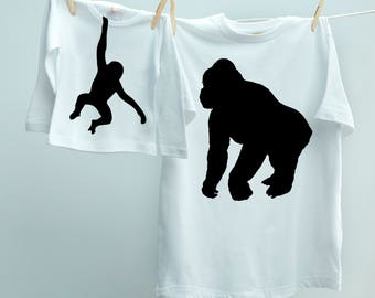Daddy Gorilla Matching T shirt Twinset, New Daddy T-shirt for Father Son or Daughter with Cheeky Little Monkey tee Father Gift