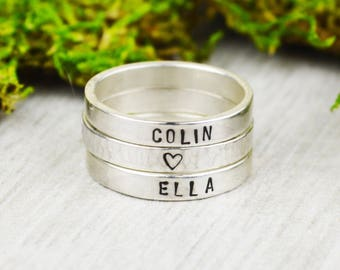 Set of Three Sterling Silver Stacking Rings • Handstamped Stack Rings • Personalized Sterling Rings