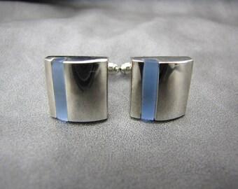 Gray Blue Glass Cufflinks Silver Cufflinks Wedding Cufflinks Modern Cufflinks Vintage Men's Accessories Father's Day Birthday Gifts For Him