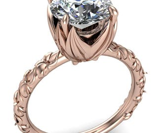 Angela Round Forever One Hearts & Arrows Moissanite Juliette Rosa Ring
