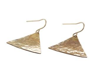 Triangle Textured Earrings;  Boho Earrings; Bohemian Jewelry; Festival; Brass Jewelry; Gold Earrings; Triangle shape Jewelry; Geometric