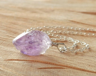 Amethyst Necklace, Raw Amethyst Necklace, Amethyst Pendant, Amethyst Crystal