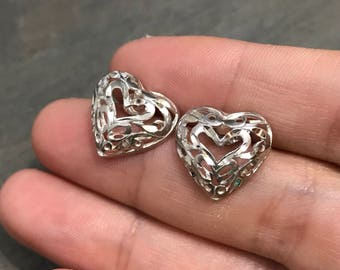 Vintage Sterling silver handmade earrings, 925 silver heart studs with filigree details, stamped 925