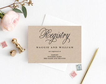 Registry Cards Editable Template - Printable PDF - Elegant Script - Wedding Registry Cards #ELC