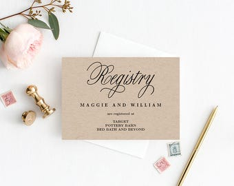 Registry Cards Editable Template - Printable PDF - Elegant Script - Wedding Registry Cards