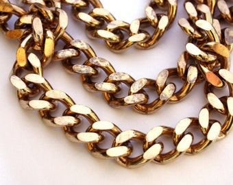 2ft of Very Heavy / Large Faceted Polished Brass Curb Chain - C038