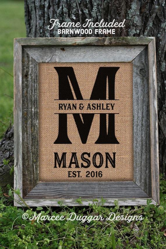 Framed Monogram Burlap Print |Monogrammed Gifts Personalized | Burlap Print | Love Dating Wedding | Family Name | 0261