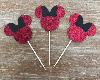 Minnie Mouse Cupcake Toppers (12 Pack) - Red Glitter Minnie Mouse Toppers