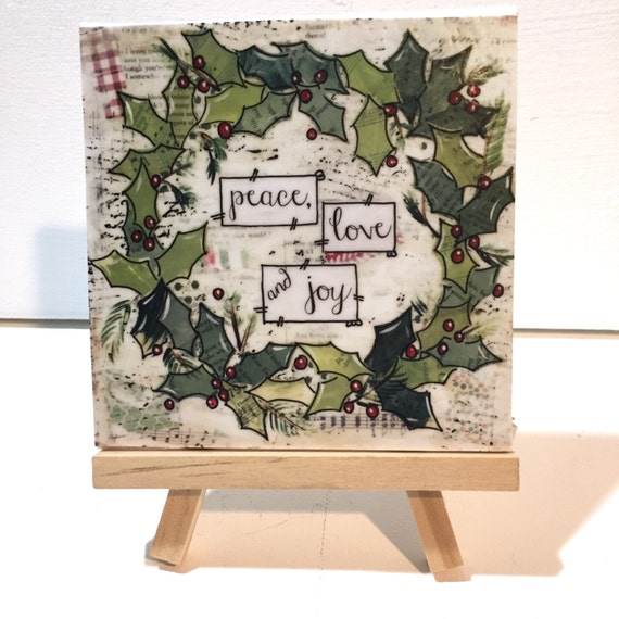 Christmas Wreath Print, Christmas Print and Easel Set, Holly Wreath