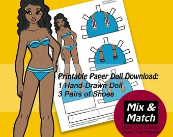 Printable Paper Doll- Paper Doll Digital Download- Paper Doll Cutout- African American Paper Doll- Black Paper Doll- Dress Up Doll-