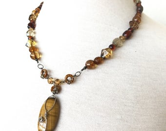 SALE Sterling Tigers Eye Necklace