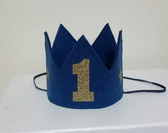 Navy and gold mini crown, 1st Birthday crown, First birthday cake smash crown, blue crown, boys 1st Birthday, Birthday boy