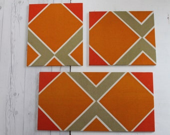 Set of 3 Matching Vintage Mod Bulletin Boards, Retro Display Board, Mod Office Note Organizer