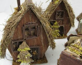 Handmade Rustic House Christmas Ornaments
