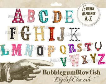 Shabby FunkY Marquee Alphabet Letters Digital Graphic Design Elements