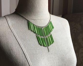 Glass Bugle Bead Bohemian Fringe Necklace in Limeade