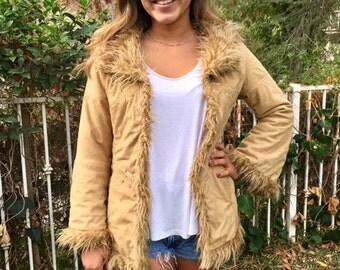 Shaggy coat, tan, faux leather coat, Jacket ,small